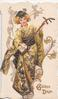 GOLDEN DAYS in gilt below Japanese girl in golden kimono standing playing stringed instrument