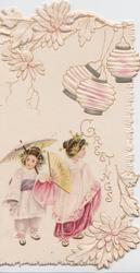 GREETINGS in gilt below Japanese lanterns 2 girls with fan & parasol standing left, stylised flowers