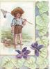 no front title, bare-foot boy stands in water with fishing net on shoulder, stylised ivy leaves & violets