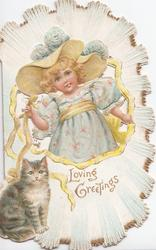 LOVING GREETINGS inset of blonde girl in lilac & yellow hat holds yellow ribbon, cat front left