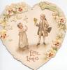 LITTLE LOVERS in gilt, boy & girl in old style dress, he holds bouquet, pansies around on heart-shaped valentine