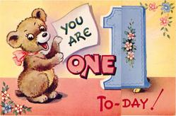 YOU ARE ONE TO-DAY bear left wearing pink bow, large blue 1, stylised flowers