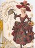 GOOD WISHES in gilt on ostrich feather fan held by girl walking front in red & grey dress, daisies around