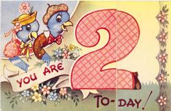 YOU ARE 2 TO-DAY! 2 dressed bluebirds, large red 2, stylised flowers