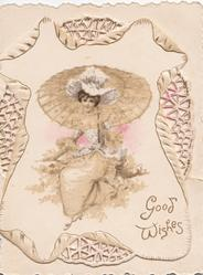 elaborate perforated design around GOOD WISHES in gilt below girl seated under parasol in the country