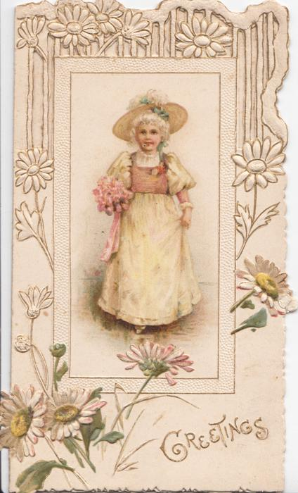 GREETINGS in gilt below inset of blonde woman standing holding bouquet, facing front, perforated design, stylised daisies around