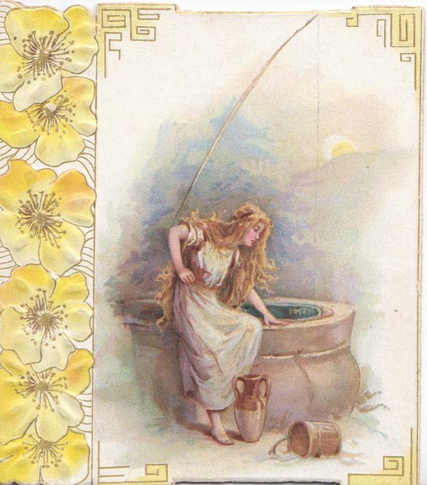 no front title, young woman in white sits on edge of well, design of stylised yellow pansies at left margin