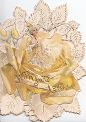 WITH FOND LOVE, woman in yellow dress sits in exaggerated yellow rose sorrounded by rose-leaf design