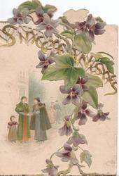 SINCERE WISHES in gilt across both perforated flaps, group of carol singers left, violets & ivy leaves