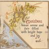 MAY CHRISTMAS(M & C illuminated)BREAK SERENE AND FAIR FILLED WITH BRIGHT HOPE AND JOY, gilt/silver design, ginkgo leaves