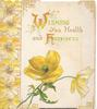 WISHING YOU HEALTH AND HAPPINESS(W & H illuminated) on white background, yellow poppies