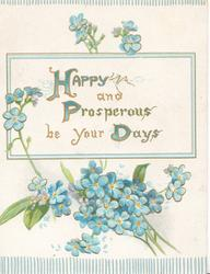 HAPPY AND PROSPEROUS BE YOUR DAYS(H, P & D illuminated) on white inset, forget-me-nots