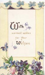 WITH WARMEST WISHES FOR YOUR WELFARE(W illuminated) on white inset, violets