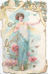 GLAD GREETINGS in gilt left of winged angel in white & blue, forget-me-nots above & pink anemones below