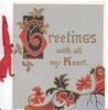 GREETINGS WITH ALL MY HEART(G & H illuminated) on pale purple background, stylised red, black & gilt leaves