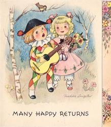 MANY HAPPY RETURNS  children dressed as pierrot & pierrette, bird in birch tree left, floral panel right