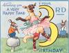 WISHING YOU A VERY HAPPY TIME ON YOUR 3RD BIRTHDAY, sheep in pink tutu dances, rabbit plays flute, large yellow 3