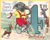 MANY HAPPY RETURNS ON YOUR 4TH BIRTHDAY, elephant on bicycle next to rabbit, donkey & duck right, large blue 4