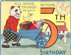 ALL GOOD THINGS BE YOURS ON YOUR 5TH BIRTHDAY panda pushes wheelbarrow right, large orange 5