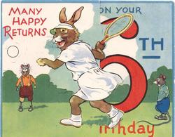 MANY HAPPY RETURNS ON YOUR 6TH BIRTHDAY rabbit plays tennis, mice observe