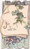 JOY(J illuminated) BE WITH YOU in gilt with blue anemones on white inset, embossed, elaborate blue design