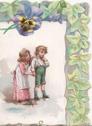 no front title, boy stands facing right, finger in mouth, girl behind with hand on his shoulder, stylised ivy leaves & pansy