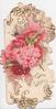 GOOD WISHES in gilt below red & pink carnations, stylised flowers around,