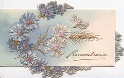REMEMBRANCE in gilt below blue cornflowers, embossed