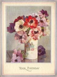 YOUR BIRTHDAY opt. in gilt, many colours of anemones in white vase