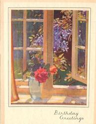 BIRTHDAY GREETINGS opt. in gilt, clear vase with red & orange rose, open window with flowering vine beyond