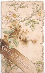 GLAD TIDINGS on wood below white wild roses & watery rural scene with bridge, embossed