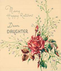 MANY HAPPY RETURNS above DEAR DAUGHTER red rose & buds with white floral sprays, lower right