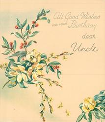 ALL GOOD WISHES FOR YOUR BIRTHDAY DEAR UNCLE right of buttercups, yellow jasmine & plant with red berries