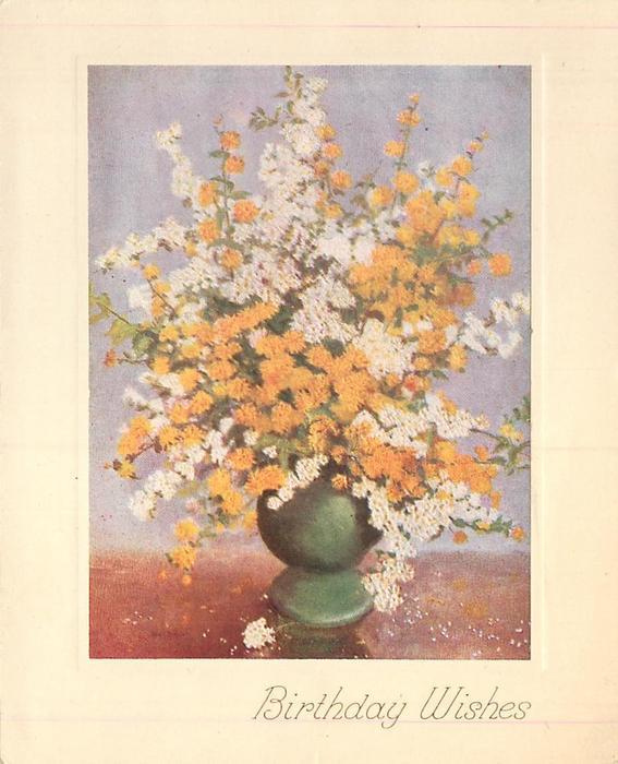 BIRTHDAY WISHES yellow & white flowers in green vase