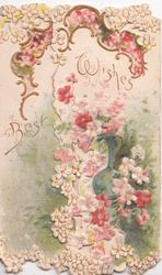 BEST WISHES in gilt, stylised pink & white flowers on both flaps & gilt top design, perforations