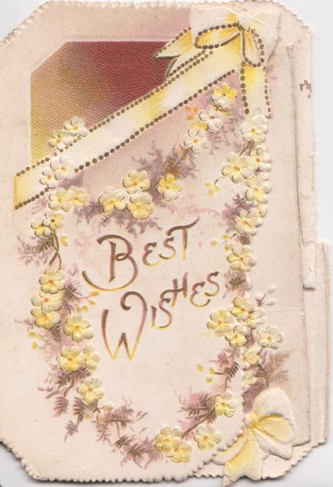 BEST WISHES in gilt surrounded by chain of yellow dianthus, brown background & white ribbon above & below