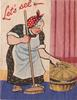 LET'S SEE housekeeper stands with broom in right hand, left hand on basket lid