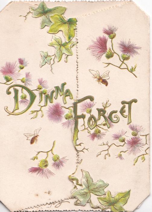 DINNA FORGET across both flaps, purple thistles around