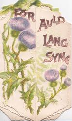 FOR AULD LANG SYNE across both flaps above purple thistles left & around