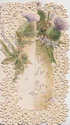 FOR AULD LANG SYNE below purple thistles, in a very complex white perforated border design