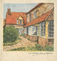 A COTTAGE HOME OF ENGLAND below inset of large home with many windows, shrubbery left