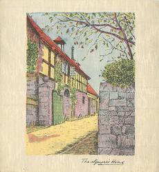 THE SQUIRE'S HOME on bottom border, buildings left of centre lane, stylised tree right