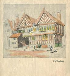 OLD ENGLAND town buildings, figure stands on street corner