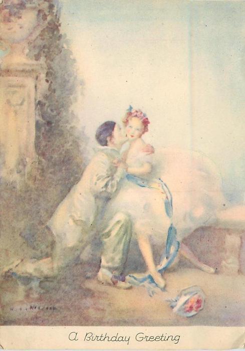 A BIRTHDAY GREETING male dancer kneels and kisses ballerina, column left