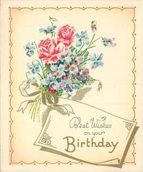 BEST WISHES ON YOUR BIRTHDAY on tag, posy of roses & violets, scalloped gilt trim with polka dots
