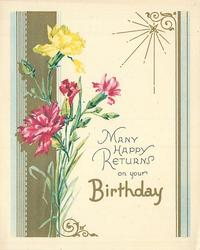 MANY HAPPY RETURNS ON YOUR BIRTHDAY 3 pink & 1 yellow carnation, light blue & gilt side panels, radiant gilt star