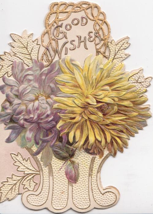GOOD WISHES in gilt on whited panel above yellow & purple chrysanthemums  in stylised pot