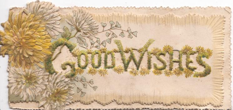 GOOD WISHES in gilt on perforated panel right of yellow & purple chrysanthemums
