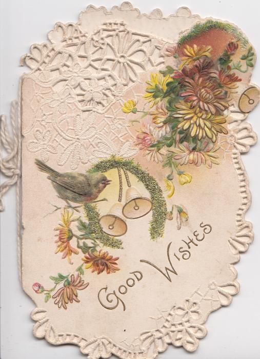GOOD WISHES in gilt below many coloured chrysanthemums, robin, horseshoe & 3 bells