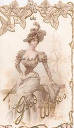 GOOD WISHES below elegant lady in old style dress seated on rail, below stylised ivy